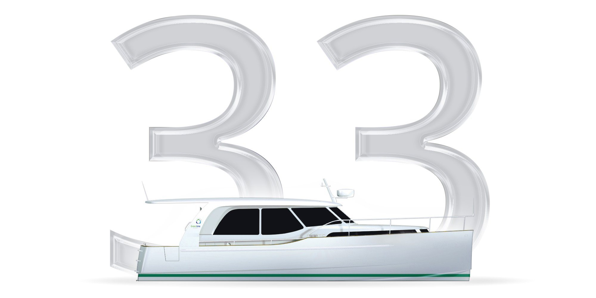 The Perfect Cruiser for Family Cruising. Here you see a Thumbnail with the number 33 and a graphically represented Yacht of the Greenline Class 33. A Slider over the thumbnail shows the following information about the Greenline 33: Length overall: 9,99m Beam overall: 3,49m Base Price: 139.900,00€