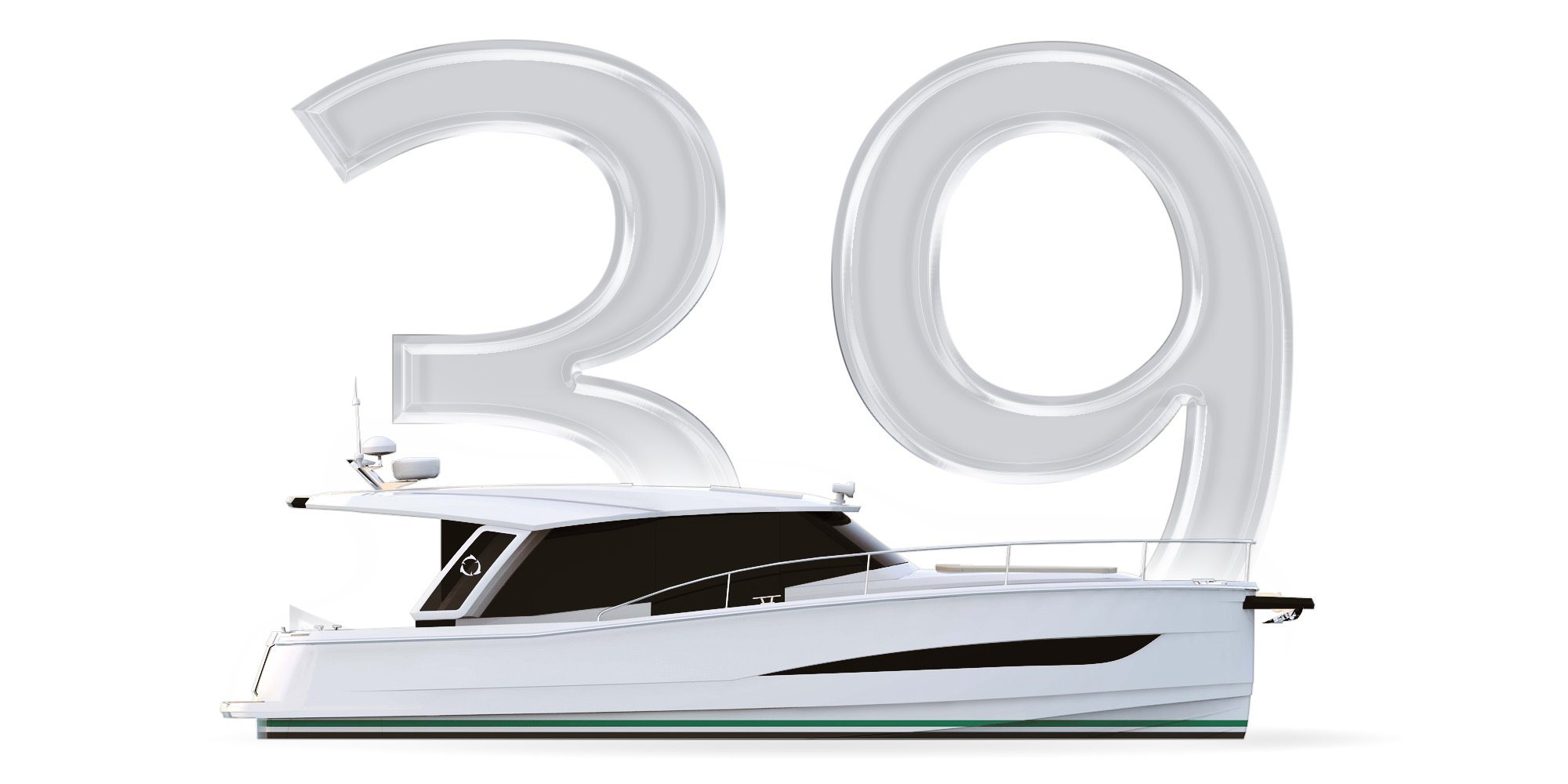 A Modern Fast Cruiser . Here you see a Thumbnail with the number 39 and a graphically represented Yacht of the Greenline Class 39. A Slider over the thumbnail shows the following information about the Greenline 39: Length overall: 11,99m Beam overall: 3,75m Base Price: 245.850,00€