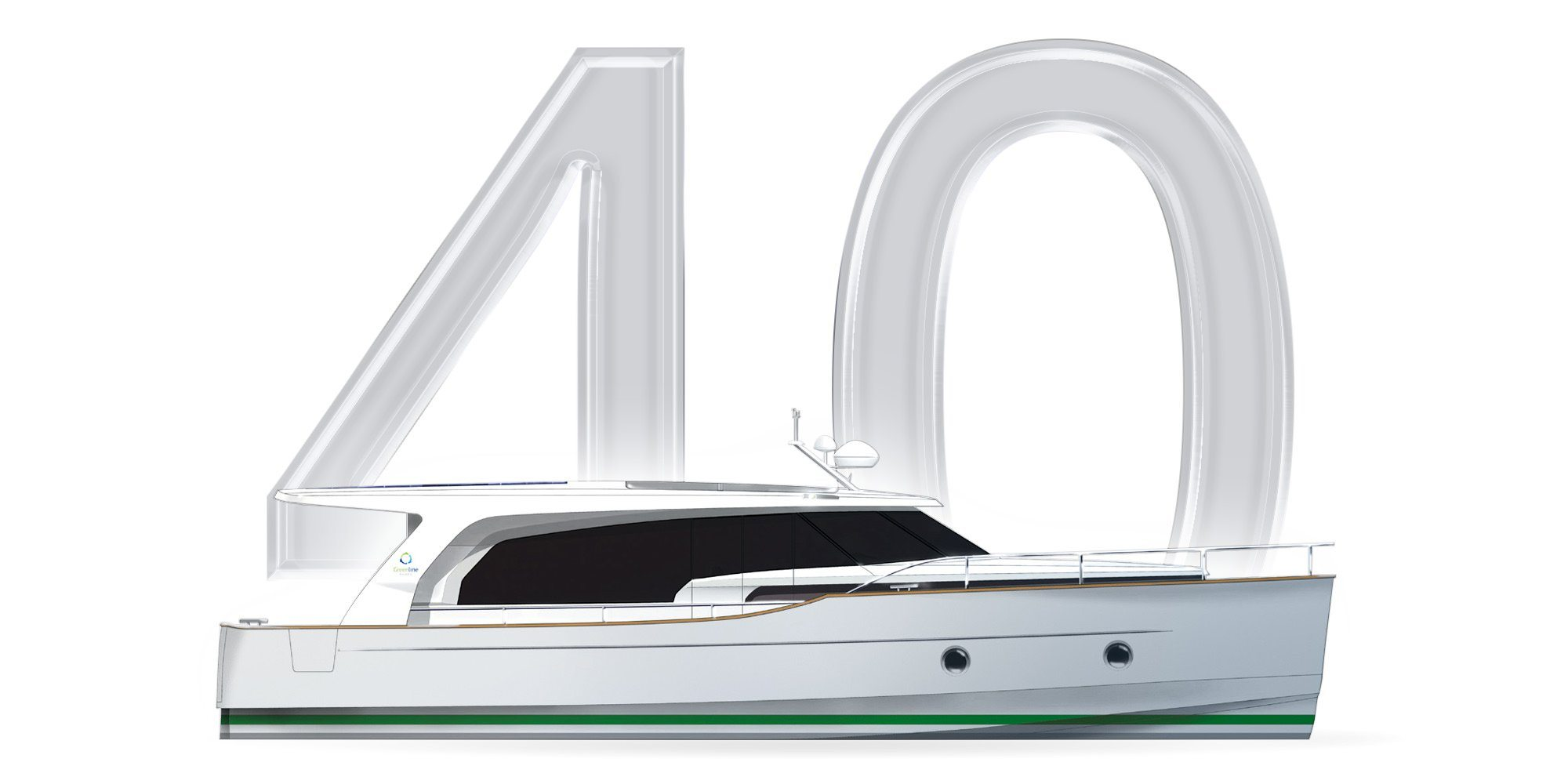 A classic Motor Yacht. You see a Thumbnail with the number 40 and a graphically represented Yacht of the Greenline Class 40. A Slider over the thumbnail shows the following information about the Greenline 40: Length overall: 11,99m Beam overall: 4,25m Base Price: 259.900,00€