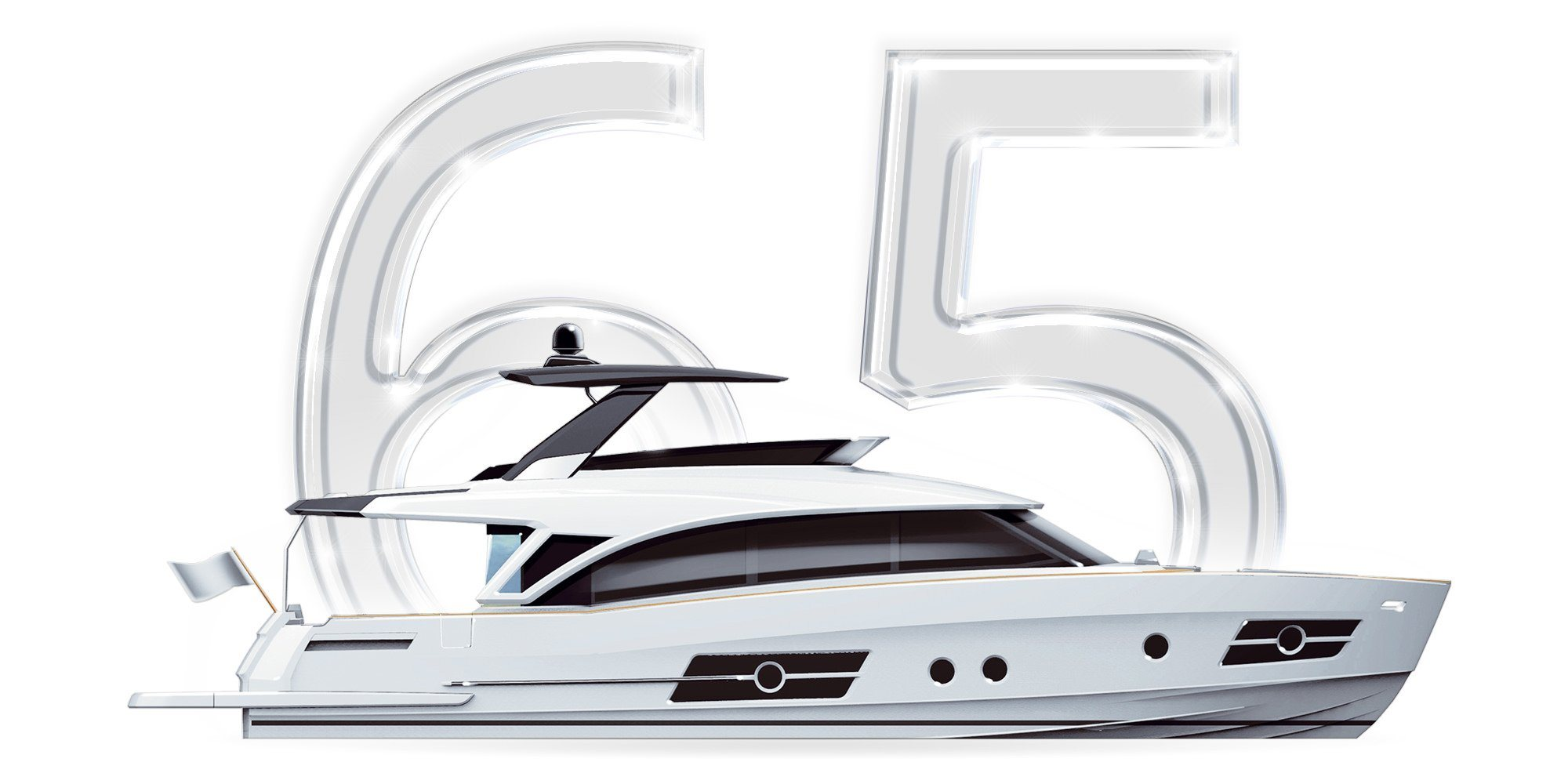 You see a Thumbnail with the number 65 and a graphically represented Yacht of the Greenline Ocean Class 65. A Slider over the thumbnail shows the following information about the Greenline 65OC / Luxury Yachts: Length overall: 20,80m Beam overall: 5,45m Base Price: 1.875.000,00€