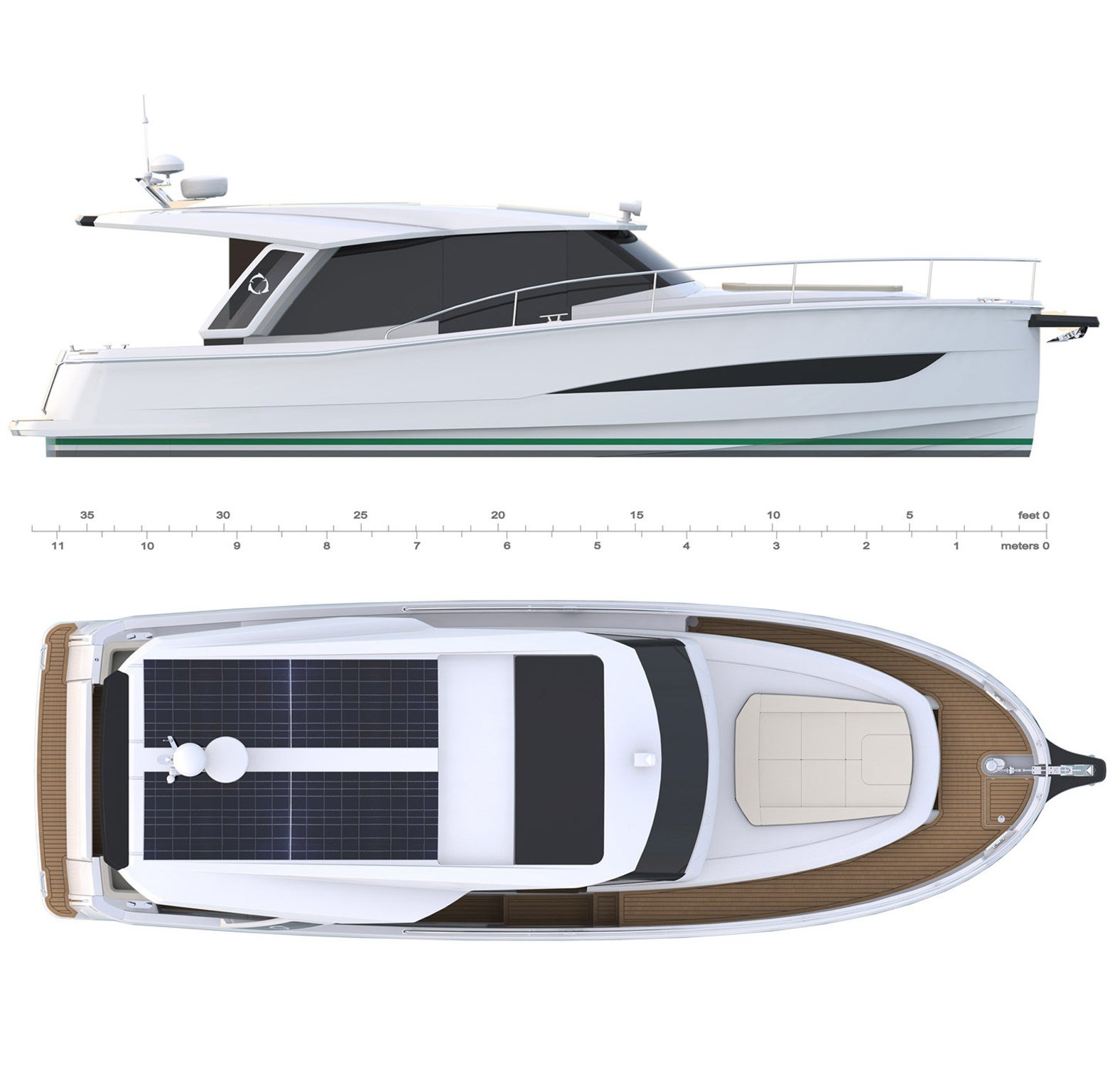 A Modern Fast Motor Cruiser. Here you see a graph showing the Greenline 39 twice. One full-length side view and one full-length bird's-eye view.