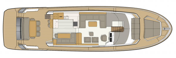 Luxury Yachts. You see a graph showing the Greenline 65OC from a bird's-eye view. A cross section is shown to show a Option of the division regarding to the interior of the Boat.