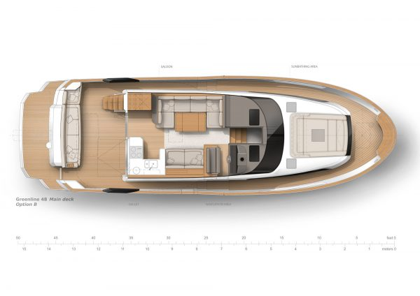 You see a graph showing the Greenline 48 Fly from a bird's-eye view. A cross section is shown to show a Option of the division regarding to the interior of the Boat.