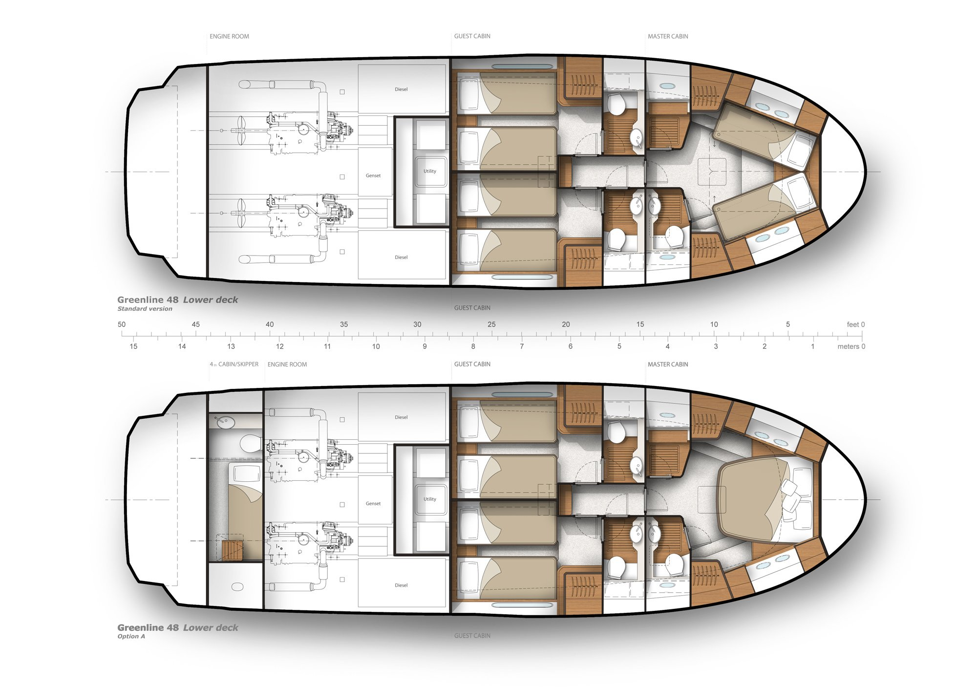 You see a graph showing the Greenline 48 Fly twice from a bird's-eye view. In each case, a cross section is shown to show different Options of the division regarding to the interior on the Lower Deck Level of the Boat.