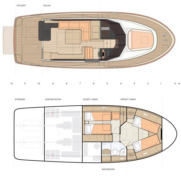 You see a graph showing the Greenline 40 twice from a bird's-eye view. In each case, a cross section is shown to show the division of the interior on each of the 2 Levels of the Boat. A classic Motor Yacht, where comfort and convenience for families comes first.