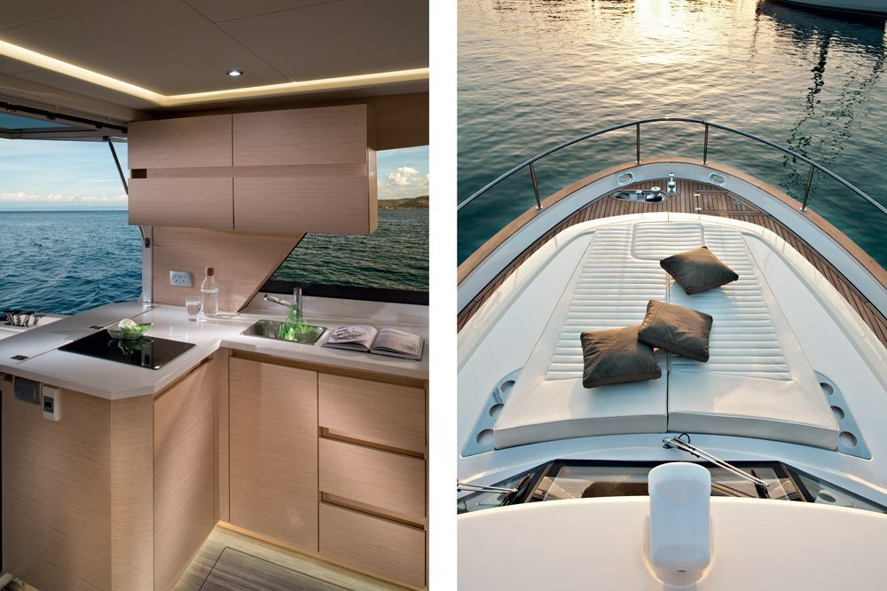 Greenline Yacht Interior Design. 2 Pictures side by side. The left-hand-side picture shows the very elegant Interior of the kitchen of the boat. You see the kitchen sink and the stove. The kitchen area offers a panoramic view at the sea. The right-hand-side picture shows a sunbathing area on the boat's bow in the evening light.